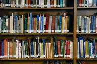 Image of multi-coloured books in a library